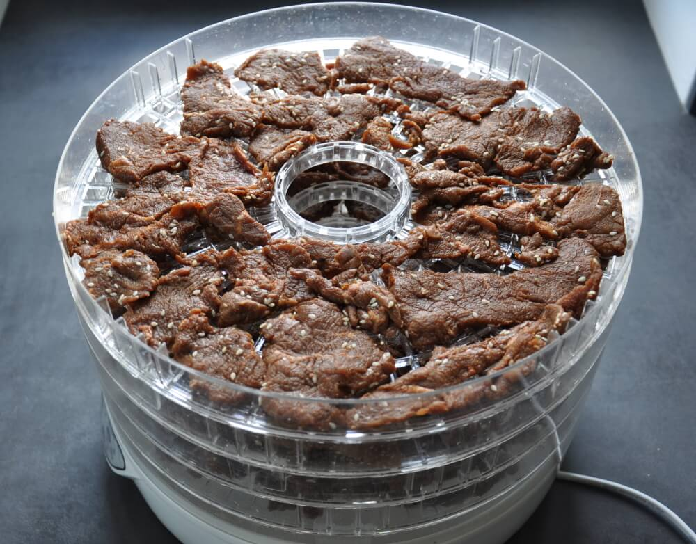 homemade beef jerky ready for dehydration