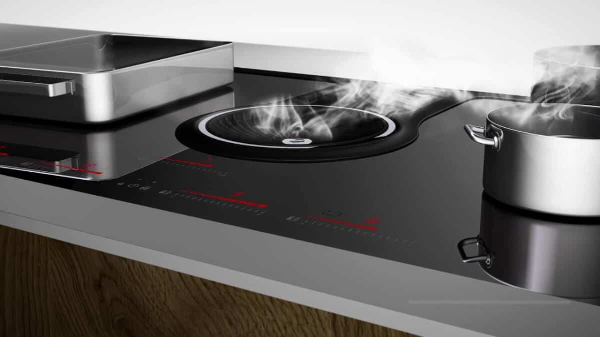 induction cooktop with downdraft, hob, stove