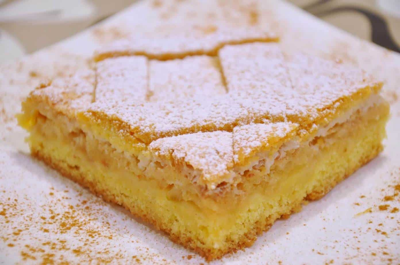 Easy french apple tart pastry with coconut and jam
