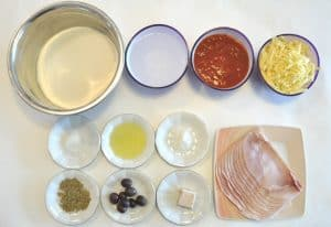 Pizza dough ingredients for making authetic homemade pizza from scratch p