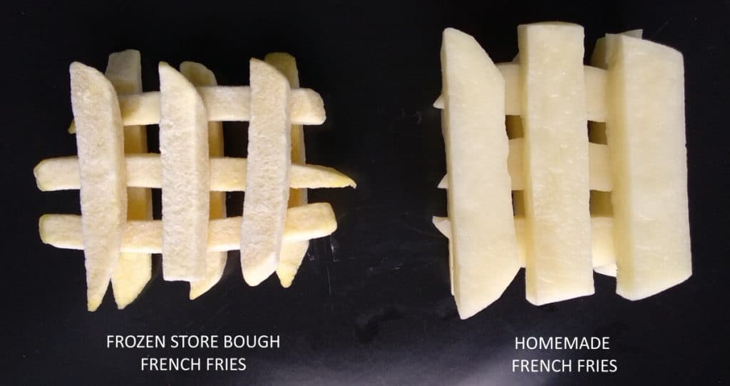 comparison store bought french fries vs homemade french fries unfried unbaked