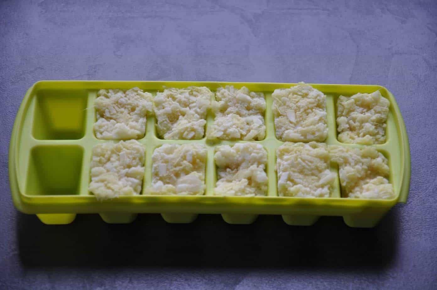 frozen ginger garlic paste in ice cube tray