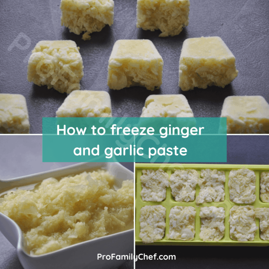 Frozen ginger garlic paste in ice mold tray