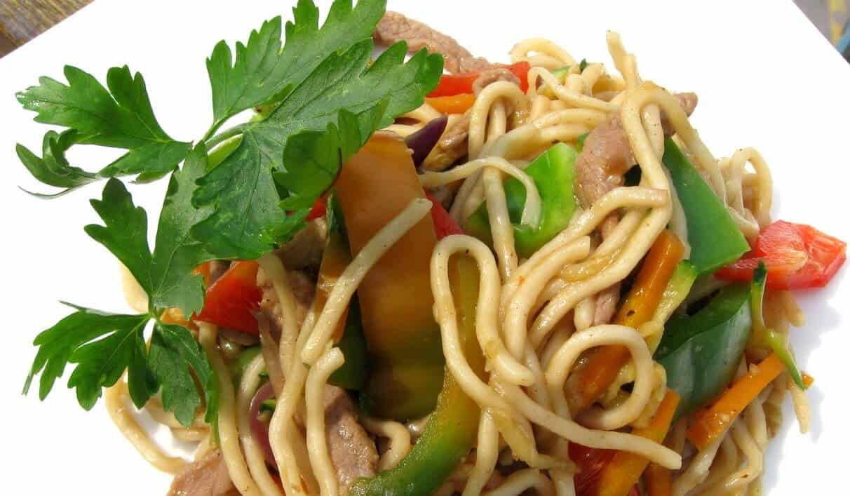Vegetable and Veal Chinese Noodles, quick stir fry dinner
