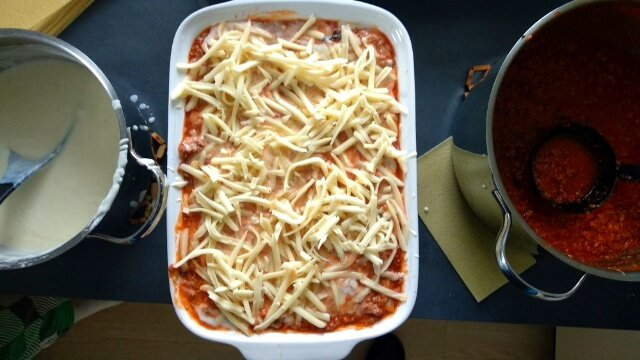 unbaked lasagna with bolognese sauce