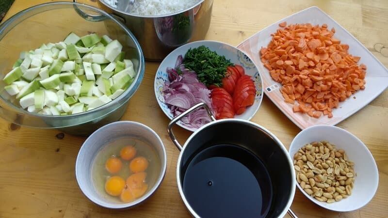 Prepared ingredients to make stir fry for a crowd