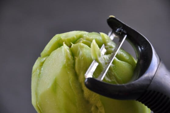 how to peel prickly chayote with Y peeler