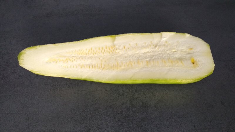 overgrown courgette or zucchini, seeds in