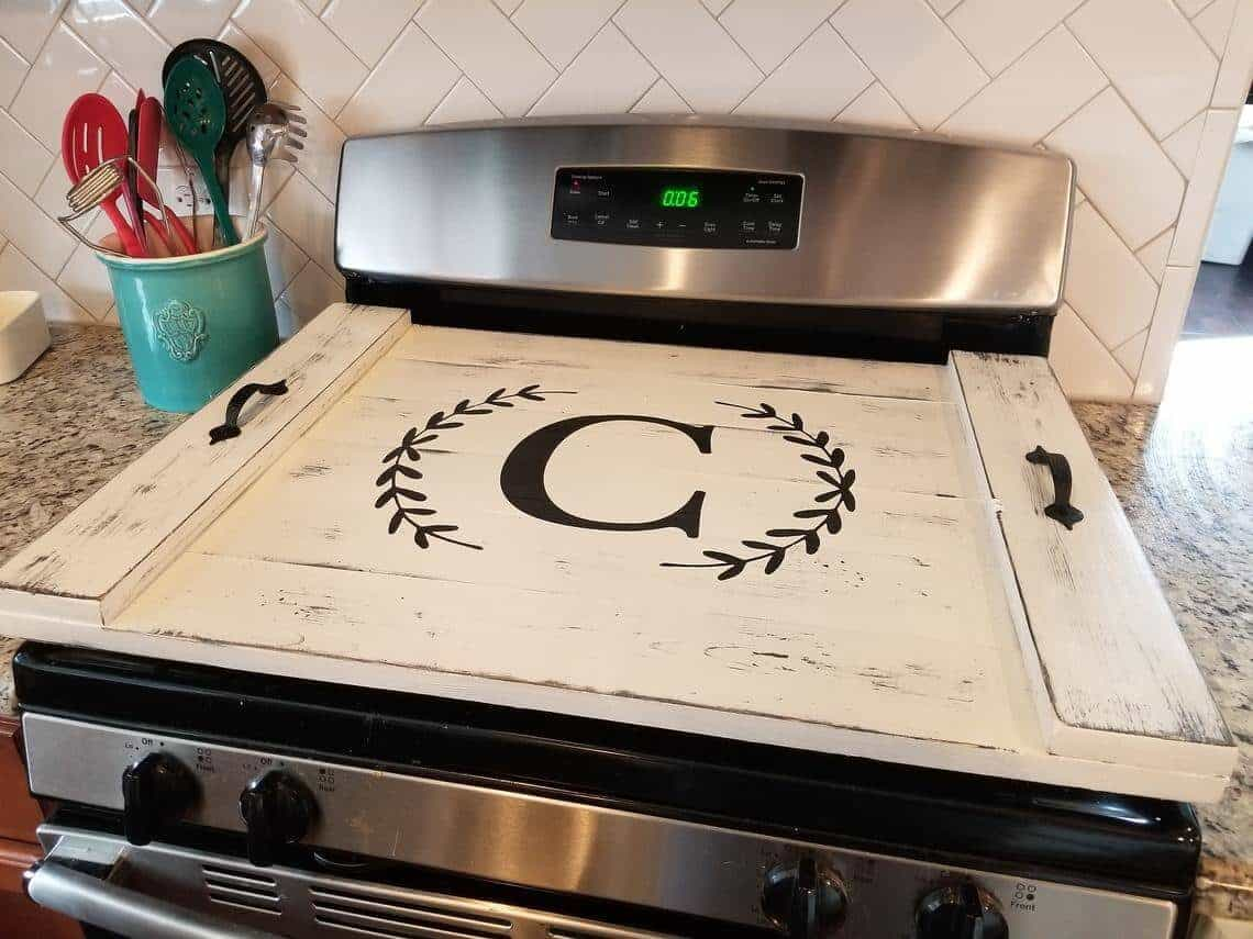 wooden gas stove top cover or noodle board
