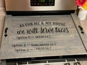 noodle board saying ask for me and my house we will serve tacos option 1 queso 24 7 option 2 margaritas 24 7 option 3 salsa 24 7