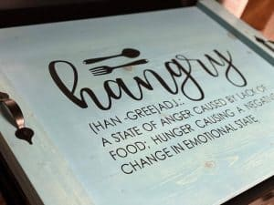 noodle board saying hangry han-gree adj a state of anger caused by lack of food hunger causin a negative change in emotional state