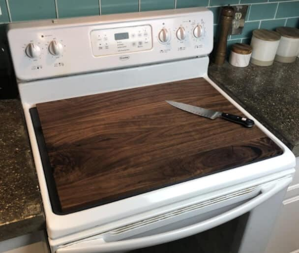 wooden cutting board stove topper cover