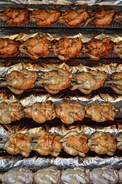 a lot of rotisserie chicken
